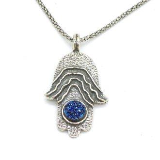 Hamsa hånd halskæde med blå Druzy krystaller