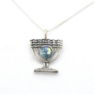 Menorah sølv halskæde