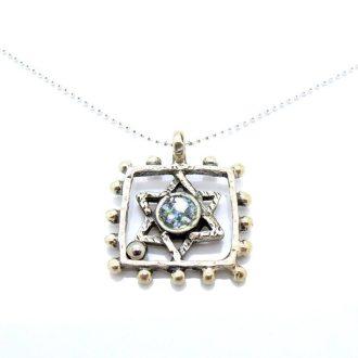 Sølvhalskæde David stjerne