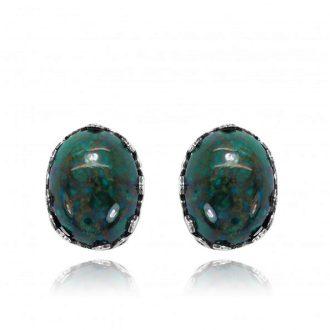 Ovale sølvørestikkere med grøn sten