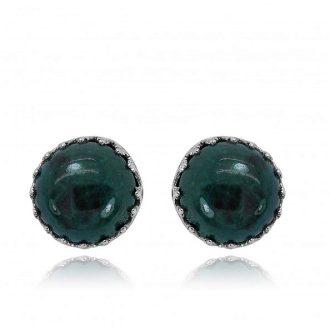 Runde sølvørestikkere med grøn sten