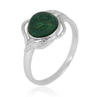Sølv ring med grøn sten natur