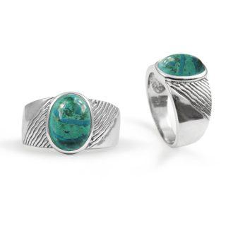 Sølvring med grøn Eilat smykkesten