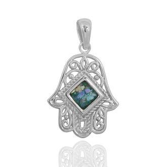 Hamsa hånd sølv halskæde belagt med rhodium
