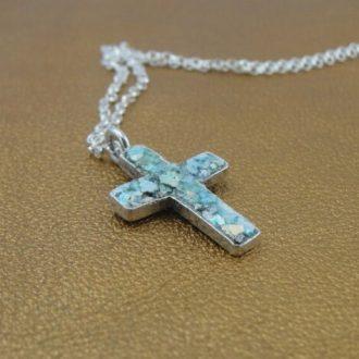 Kors halskæde med romersk glas