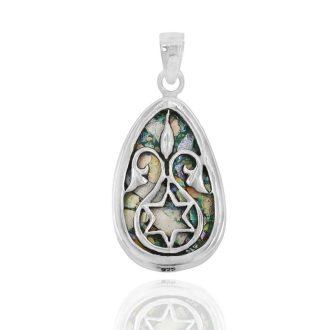Oval Hamsa hånd halskæde i sølv