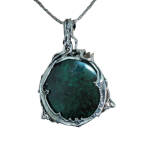 Stor halskæde med grøn Eilat sten