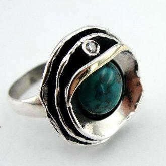 Blomster ring i guld og sølv med grøn Eilat sten