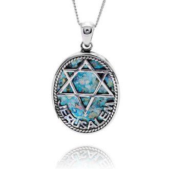 Oval halskæde med davidsstjerne og jerusalem indskrift
